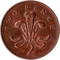 reverse of 2 Pence - Elizabeth II - Magnetic; 4'th Portrait (1998 - 2008) coin with KM# 987 from United Kingdom. Inscription: TWO PENCE ICH DIEN 2
