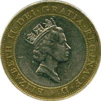 obverse of 2 Pounds - Elizabeth II - 3'rd Portrait (1997) coin with KM# 976 from United Kingdom. Inscription: ELIZABETH · II · DEI · GRATIA · REGINA · F · D + RDM