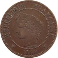 obverse of 2 Centimes (1877 - 1897) coin with KM# 827 from France. Inscription: RÉPUBLIQUE FRANÇAISE OUDINÉ 1895