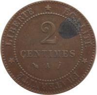 reverse of 2 Centimes (1877 - 1897) coin with KM# 827 from France. Inscription: LIBERTÉ ÉGALITÉ FRATERNITÉ 2 CENTIMES A