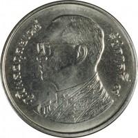 obverse of 1 Baht - Rama IX (2008 - 2015) coin with Y# 443 from Thailand. Inscription: ภูมิพลอดุลยเดช รัชกาลที่๙