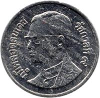 obverse of 1 Satang - Rama IX (1987 - 2007) coin with Y# 186 from Thailand.