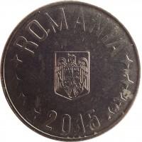 obverse of 10 Bani (2005 - 2015) coin with KM# 191 from Romania. Inscription: ROMANIA 2015