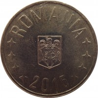obverse of 50 Bani (2005 - 2015) coin with KM# 192 from Romania. Inscription: ROMANIA 2015