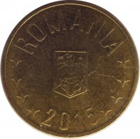obverse of 1 Ban (2005 - 2015) coin with KM# 189 from Romania. Inscription: ROMANIA 2015