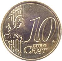 reverse of 10 Euro Cent - Juan Carlos I - 2'nd Map; 1'st Type (2007 - 2009) coin with KM# 1070 from Spain. Inscription: 10 EURO CENT LL