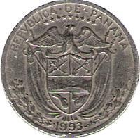 obverse of 1/10 Balboa (1966 - 1993) coin with KM# 10 from Panama. Inscription: REPVBLICA DE PANAMA 1993