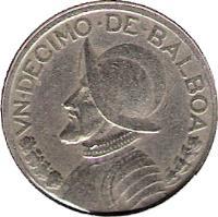 reverse of 1/10 Balboa (1966 - 1993) coin with KM# 10 from Panama. Inscription: VN DECIMO DE BALBOA