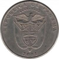 obverse of 1/4 Balboa (1996 - 2008) coin with KM# 128 from Panama. Inscription: REPUBLICA DE PANAMA 2001
