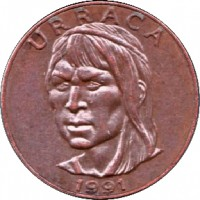 obverse of 1 Centésimo (1991 - 1993) coin with KM# 124 from Panama. Inscription: URRACA 1991