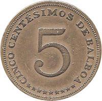 reverse of 5 Centésimos (1996) coin with KM# 126 from Panama. Inscription: CINCO CENTÉSIMOS DE BALBOA 5