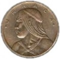 obverse of 1 Centésimo (1983) coin with KM# 22a from Panama. Inscription: *URRACA*