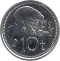 reverse of 10 Toea - Elizabeth II (1975 - 2001) coin with KM# 4 from Papua New Guinea. Inscription: 10 t