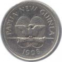 obverse of 5 Toea - Elizabeth II (1975 - 1999) coin with KM# 3 from Papua New Guinea. Inscription: PAPUA NEW GUINEA 1975