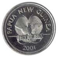 obverse of 20 Toea - Elizabeth II (1975 - 1999) coin with KM# 5 from Papua New Guinea. Inscription: PAPUA NEW GUINEA 1975