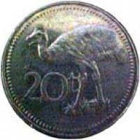 reverse of 20 Toea - Elizabeth II (1975 - 1999) coin with KM# 5 from Papua New Guinea. Inscription: 20t