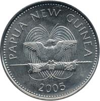 obverse of 20 Toea - Elizabeth II (2004 - 2010) coin with KM# 5a from Papua New Guinea. Inscription: PAPUA NEW GUINEA 2005