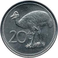 reverse of 20 Toea - Elizabeth II (2004 - 2010) coin with KM# 5a from Papua New Guinea. Inscription: 20t