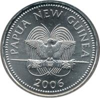 obverse of 10 Toea - Elizabeth II (2002 - 2010) coin with KM# 4a from Papua New Guinea. Inscription: PAPUA NEW GUINEA