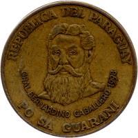 obverse of 500 Guaraníes (1998 - 2005) coin with KM# 195 from Paraguay. Inscription: REPUBLICA DEL PARAGUAY GRAL. BERNARDINO CABALLERO 1998 PO SA GUARANI