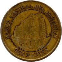 reverse of 500 Guaraníes (1998 - 2005) coin with KM# 195 from Paraguay. Inscription: BANCO CENTRAL DEL PARAGUAY 500 GUARANIES