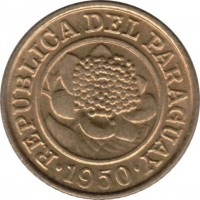 obverse of 1 Céntimo (1944 - 1950) coin with KM# 20 from Paraguay. Inscription: REPUBLICA DEL PARAGUAY 1950
