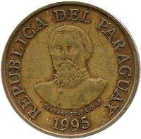 obverse of 100 Guaraníes (1993 - 2005) coin with KM# 177a from Paraguay. Inscription: GENERAL JOSE.E.DIAZ REPUBLICA DEL PARAGUAY