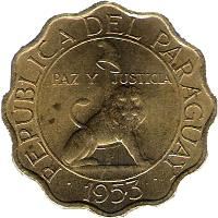 obverse of 50 Céntimos (1953) coin with KM# 28 from Paraguay. Inscription: REPUBLICA DEL PARAGUAY PAZ Y JUSTICIA 1953