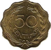reverse of 50 Céntimos (1953) coin with KM# 28 from Paraguay. Inscription: 50 CENTIMOS