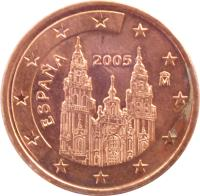 obverse of 5 Euro Cent - Juan Carlos I - 1'st Type (1999 - 2009) coin with KM# 1042 from Spain. Inscription: ESPAÑA 2001 M