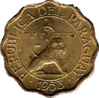 obverse of 10 Céntimos (1953) coin with KM# 25 from Paraguay. Inscription: REPUBLICA DEL PARAGUAY PAZ Y JUSTICIA 1953