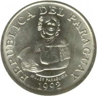 obverse of 5 Guaraníes - FAO (1992) coin with KM# 166a from Paraguay. Inscription: REPUBLICA DEL PARAGUAY MUJER PARAGUAYA 1992