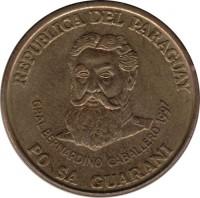 obverse of 500 Guaraníes - Denomination above building (1997) coin with KM# 194 from Paraguay. Inscription: REPUBLICA DEL PARAGUAY GRAL BERNARDINO CABALLERO 1997 PO SA GUARANI