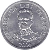 obverse of 50 Guaraníes (2006 - 2012) coin with KM# 191b from Paraguay. Inscription: REPUBLICA DEL PARAGUAY MCAL.J.F.ESTIGARRIBIA 2006