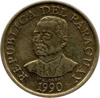 obverse of 10 Guaraníes - FAO (1990) coin with KM# 178 from Paraguay. Inscription: REPUBLICA DEL PARAGUAY 1990