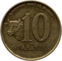 reverse of 10 Guaraníes - FAO (1990) coin with KM# 178 from Paraguay. Inscription: ALIMENTOS PARA EL MUNDO 10 GUARANIES