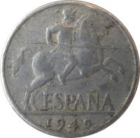 obverse of 10 Centimos - Iberian rider (1940 - 1953) coin with KM# 766 from Spain. Inscription: ESPAÑA 1953
