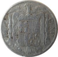 reverse of 10 Centimos - Iberian rider (1940 - 1953) coin with KM# 766 from Spain. Inscription: DIEZ CENTS UNA GRANDE LIBRE PLUS ULTRA