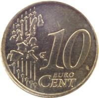 reverse of 10 Euro Cent - Juan Carlos I - 1'st Map; 1'st Type (1999 - 2006) coin with KM# 1043 from Spain. Inscription: 10 EURO CENT LL