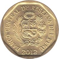 obverse of 20 Céntimos (1991 - 2015) coin with KM# 306 from Peru. Inscription: BANCO CENTRAL DE RESERVA DEL PERU 1996