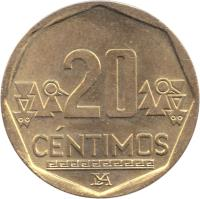 reverse of 20 Céntimos (1991 - 2015) coin with KM# 306 from Peru. Inscription: 20 CENTIMOS