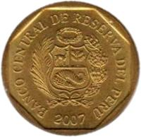obverse of 5 Céntimos (1991 - 2007) coin with KM# 304 from Peru. Inscription: BANCO CENTRAL DE RESERVA DEL PERU 1996