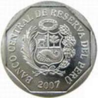 obverse of 5 Céntimos (2007 - 2015) coin with KM# 304.4a from Peru. Inscription: BANCO CENTRAL DE RESERVA DEL PERÚ 2007