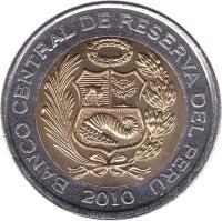 obverse of 5 Nuevo Soles - 2'nd Type (2010 - 2015) coin with KM# 344 from Peru. Inscription: BANCO CENTRAL DE RESERVA DEL PERU 2010