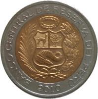 obverse of 2 Nuevo Soles - 2'nd Type (2010 - 2015) coin with KM# 343 from Peru. Inscription: BANCO CENTRAL DE RESERVA DEL PERU 2010