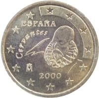 obverse of 50 Euro Cent - Juan Carlos I - 1'st Map; 1'st Type (1999 - 2006) coin with KM# 1045 from Spain. Inscription: ESPAÑA Cervantes M 1999