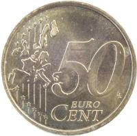 reverse of 50 Euro Cent - Juan Carlos I - 1'st Map; 1'st Type (1999 - 2006) coin with KM# 1045 from Spain. Inscription: 50 EURO CENT LL