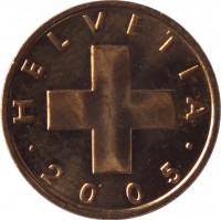 obverse of 1 Rappen (1948 - 2006) coin with KM# 46 from Switzerland. Inscription: HELVETIA · 2005 ·