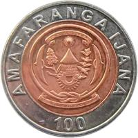 obverse of 100 Francs (2007) coin with KM# 32 from Rwanda. Inscription: AMAFARANGA IJANA 100