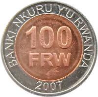 reverse of 100 Francs (2007) coin with KM# 32 from Rwanda. Inscription: BANKI NKURU Y'U RWANDA 100 FRW 2007